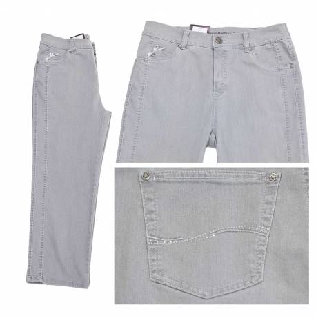 Pantacourt Dora confort fit gris clair
