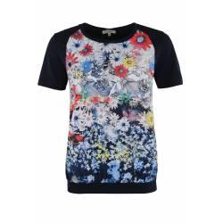 Tee-shirt Hajo Fleuri Bi-Color Femme