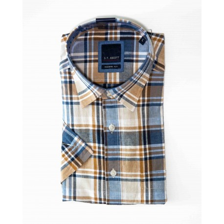 Chemise manches courtes à carreaux madras