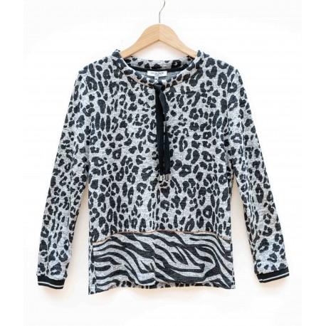 Pull Hajo Leopard Gris