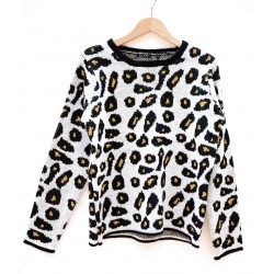 Pull Blue Seven Maille Leopard