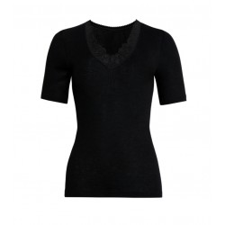 Tee-shirt dentelle Con-ta Laine/Modal Noir