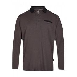 Hajo Softknit Long Sleeve Polo Shirt - Black