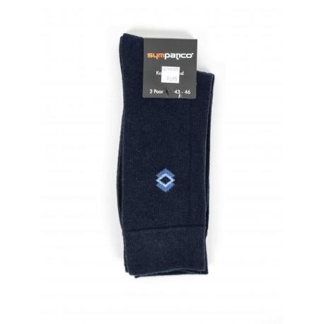 Pack 2 Sympatico Socks Navy Blue Pattern