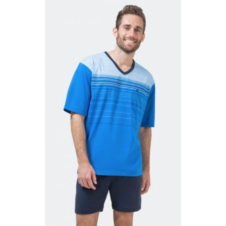 Pyjashort Hajo Rayé Col V Bleu Royal