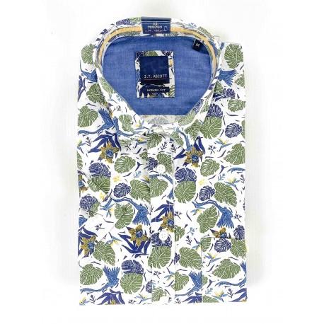 Chemise manches courtes motif à fleurs