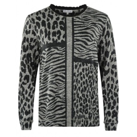 Pull Hajo chiné motif leopard Gris/Rose