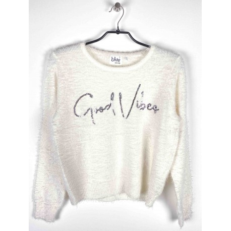 "Pull Blue Seven ""Good Vibes"" Blanc"