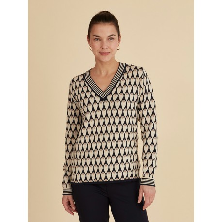 Pull Azay maille col V Beige